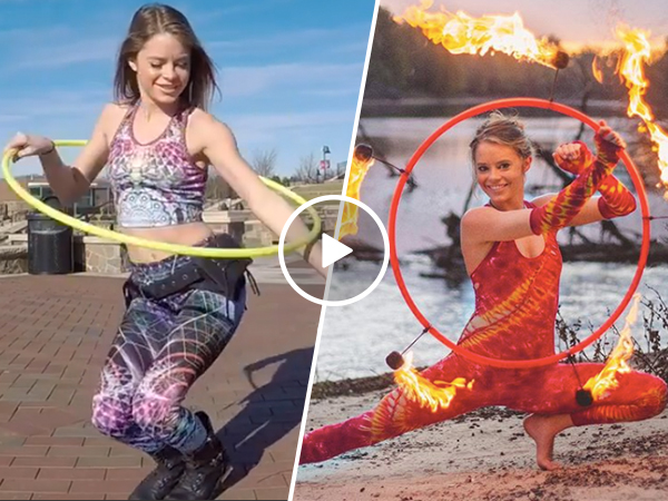 Amy Greenley shows off her impressive hula hoop skills (Video)