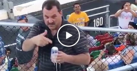 NASCAR Dad Waterfalls a Beer Like Stone Cold Steve Austin