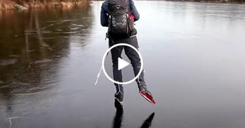 Skating on Black Ice in Sweden | Dangerous Winter Olympics Activities