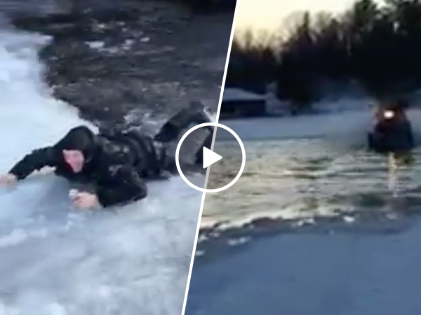Man's attempt to skim pond goes horribly wrong (Video)