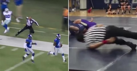 A collection of GIFs of funny happenings involving sports' referees