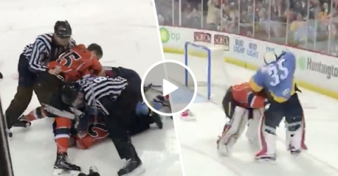 Cheap shot leads to full line brawl in ECHL game (Video)