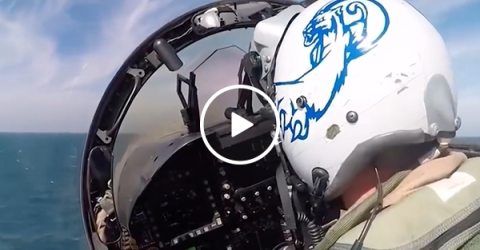 Cockpit view of a jet taking off from USS Theodore Roosevelt (Video)