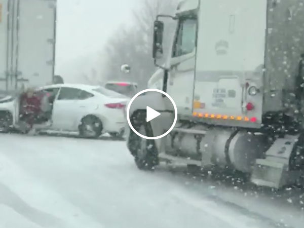 Missouri woman narrowly escapes as semi-truck hits crashes into car (Video)