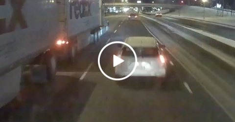 Careless Prius driver rammed by two semi-trucks (Video)
