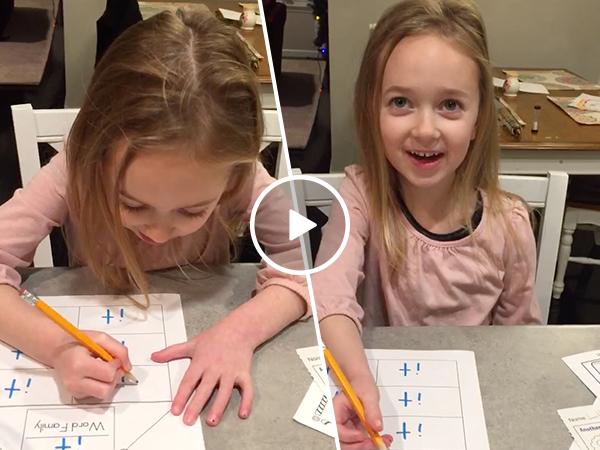 Little girl almost spells tit on homework (Video)