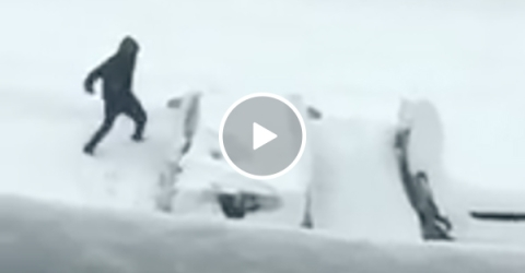 Guy Flips Out When He Has To Clear His Car of Snow In a Winter Storm