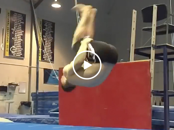 Gymnast pulls off amazing sitting backflip (Video)