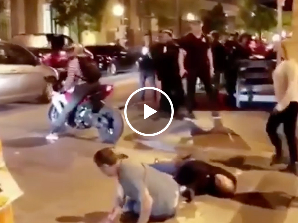 Two drunk guys get knocked out by biker