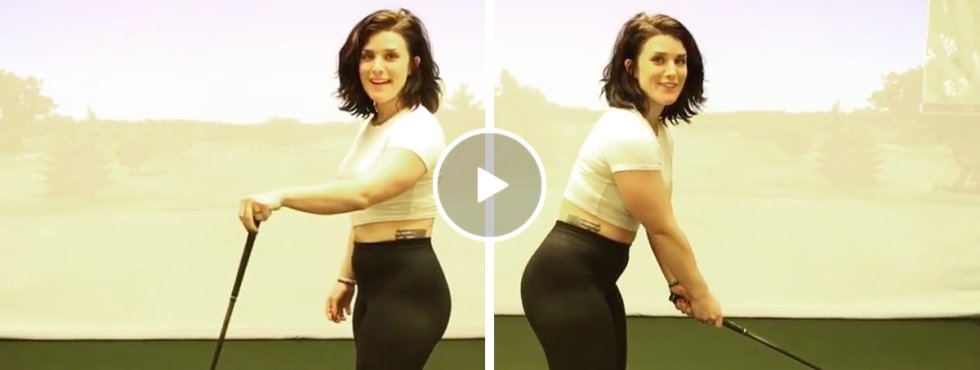 Hot Golf Babe Give Tutorial On How To Hit A Golf Ball with a Driver