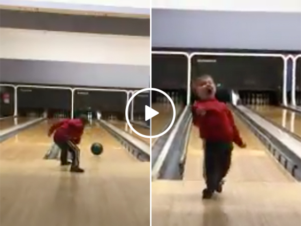 Young Boy Bowls A Strike And Has An Amazing Celebration