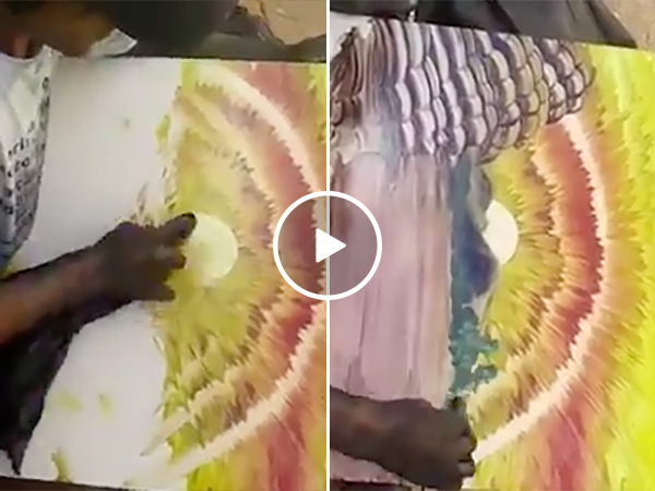 A Guy Does An Amazing Art Painting on the Side of the Road