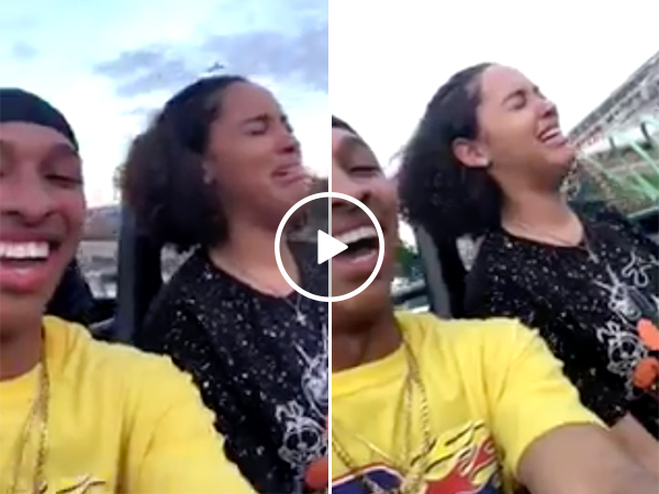 Girl Freaks Out and Passes Out on Rollercoaster