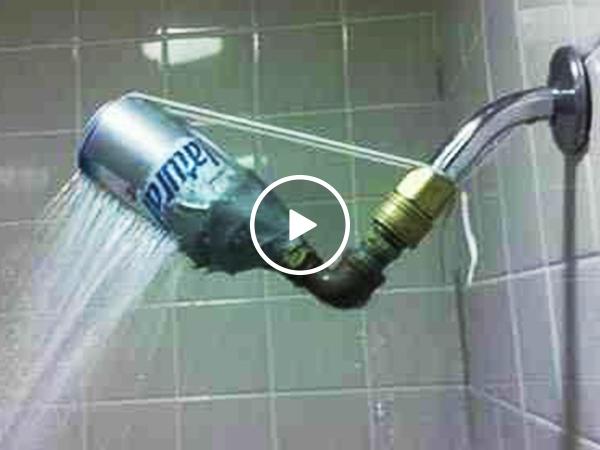 Man installs a shower head that defies gravity (Video)