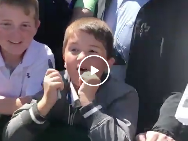 Tiger Woods Signs A Kid's Hat and The Boy Went Nuts With Excitement