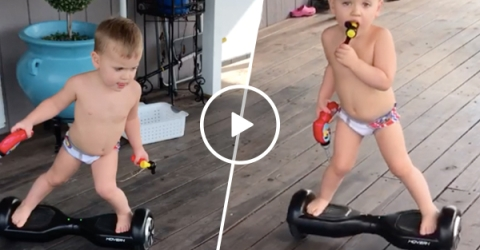 Toddler has some impressive hover board moves (Video)