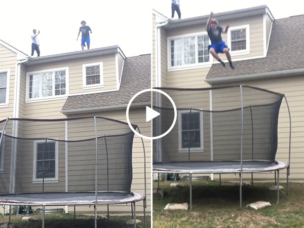 Kid Jumps From Roof Onto Trampoline And Eats Shit