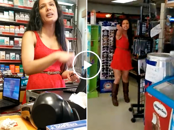 Cashier at a Gas Station Goes Nuts and Attacks Customer