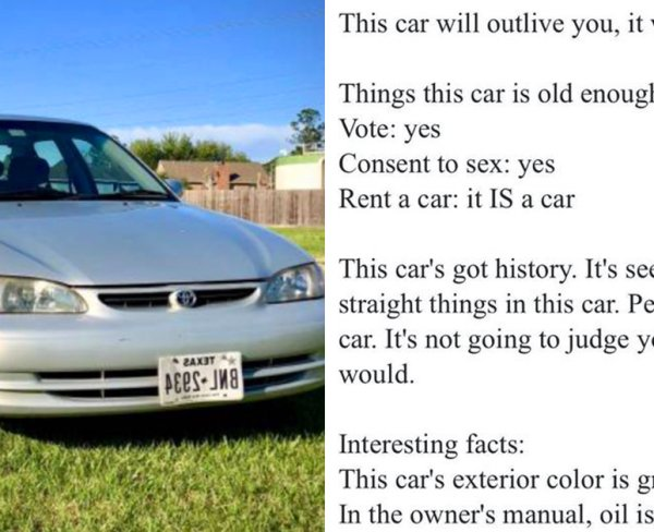 guy writes brilliant ad for his 1999 f ing toyota corolla thechive f ing toyota corolla
