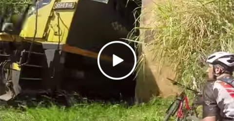 Cyclist narrowly misses train coming the other way through tunnel