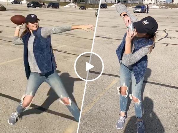 Cute girl throws deep football pass then shotguns a beer (Video)