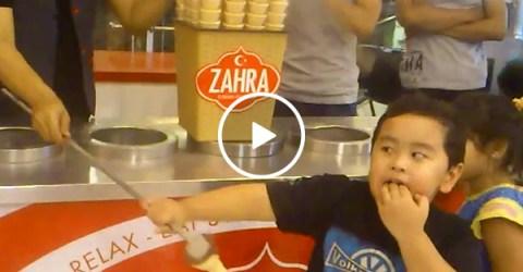 Little kid has no chill when following Turkish ice cream prank (Video)