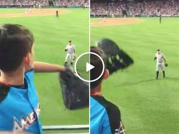 Aaron Judge Plays Catch With A Kid During a New York Yankees Game
