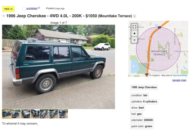 cabinfever61 Guys Craigslist ad for his 96 Jeep Range Rover Cherokee is brilliant (8 Photos)