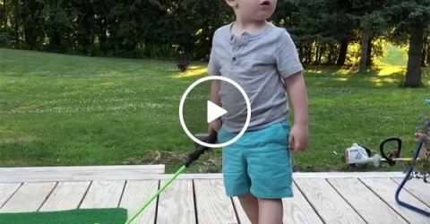 Young Kid Gets Mad When His Brother Talks During his Golf Backswing