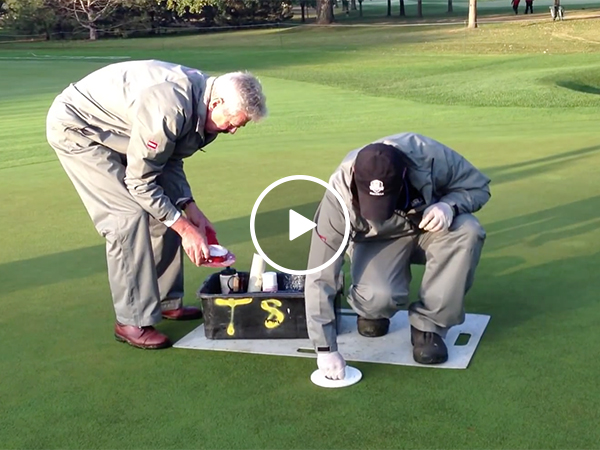 Groundskeepers Changing Hole Locations on Green of Golf Course