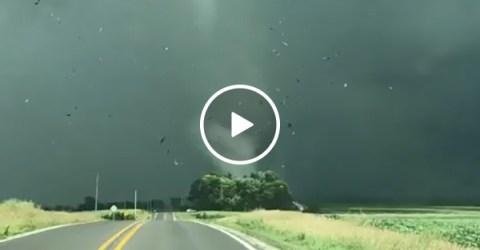 Tornado Rips A Shed Through the Air and Blows Through a Town