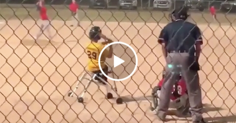 Baseball Kid in Wheelchair Gets a Home Run that Mike Trout would Love