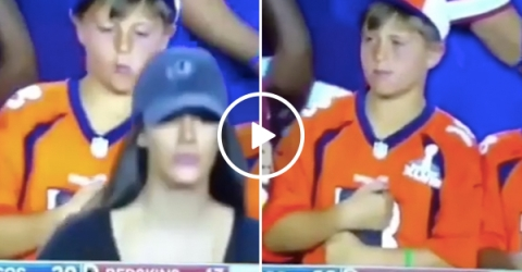 Hot Girl Walks By Kid at Broncos Game and Camera Catch Him Looking