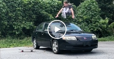 Guy Does Parkour And Jumps Over Car and Onto Skateboard
