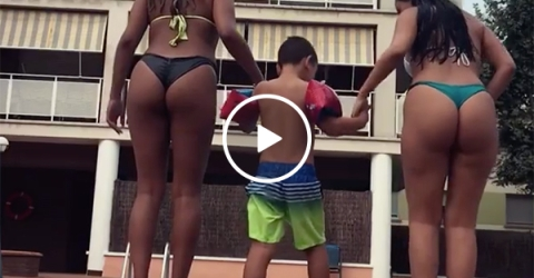 Young Boy Slaps the Butt of A Hot Girl With a Big Butt Jumping in Pool