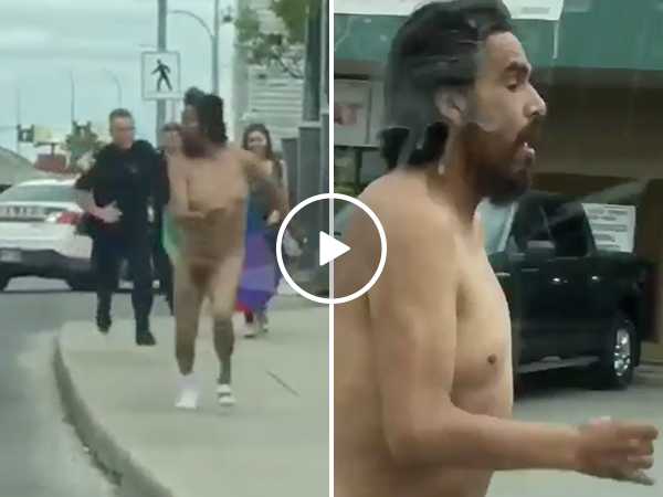 Naked man runs from the cops in hilarious video