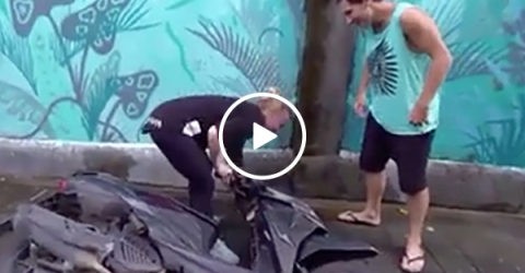 Lady Tries to Do Parkour with Motorcycle and Fails Miserably