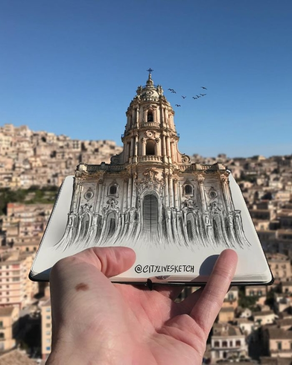 interesting pictures of drawings blended with real landscapes xx photos 1 Sketch magic woven into cityscapes will give you wanderlust (30 Photos)