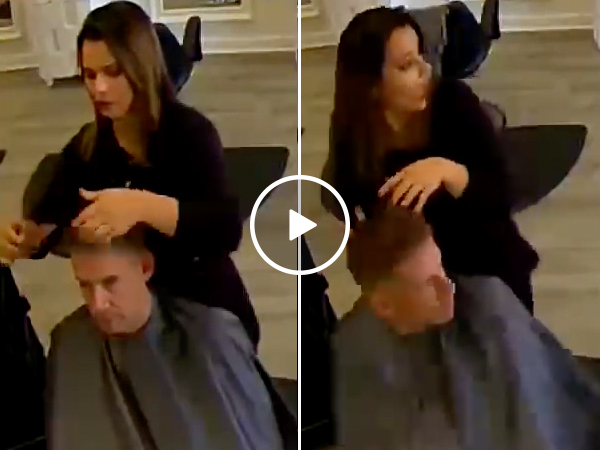 A casual haircut turned into a wild surprise by unexpected visitor (Video)
