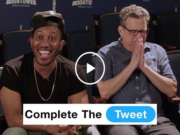 Comedians filling in Twitter blanks fills me with laughter (Video)