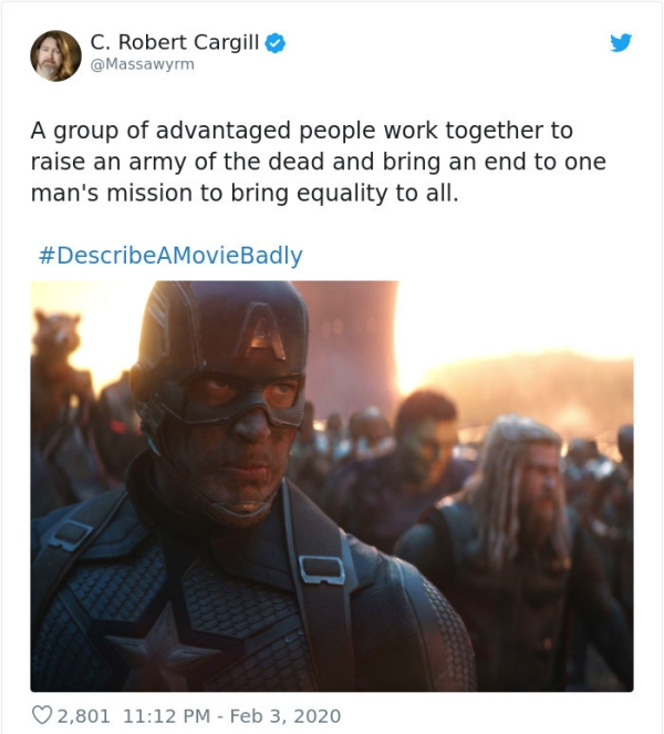 People On Twitter Answer The Jimmy Fallon Trending Topic DescribeAMovieBadly And Give Horrible Summaries Of Famous Films Humor 54 Horrible but accurate summaries of famous movies (40 photos)