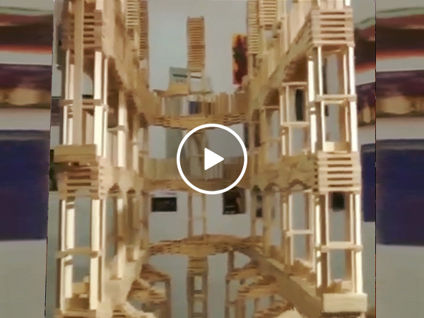 Wood Domino Awesome Castle Trick Almost every One Knocked Down (Video BVFY.RU)