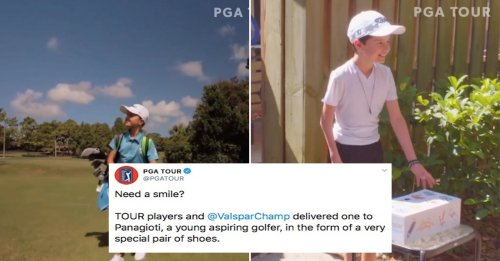 A special pair of shoes for a special little golfer (8 Photos & Video)