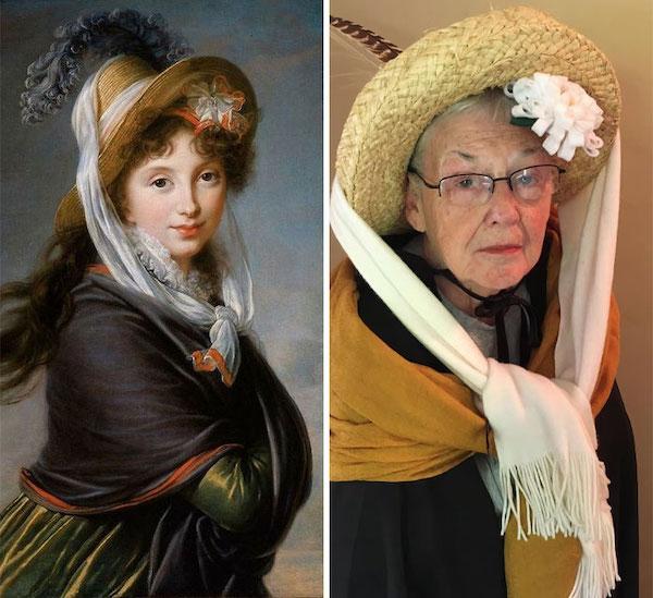 83 yo grandma daughter recreate historical artwork 12 5eccfa4833bf6  700 83 year old woman hilariously recreates old paintings while stuck in quarantine (18 Photos)