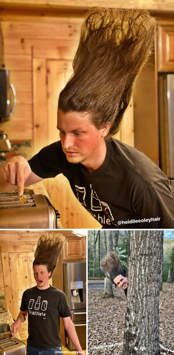girlfriend experiments boyfriends hair funny styles hairdos quarantine15 Guy lets his hairstylist GF experiment on his hair & were impressed...and scared (22 Photos)
