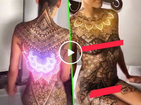 Tattoo Girl Light UP Glowing Video Naked Woman Crazy LED Body 2021 (Video)