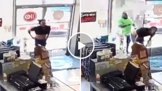 Naked Shoplifter gets a fist full of Instant Karma (Video)