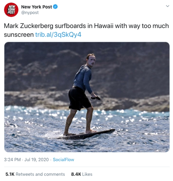 Mark Zuckerberg Sunscreen Surfing Tweets3 Mark Zuckerberg resembles a clown now more than ever before (25 Photos)