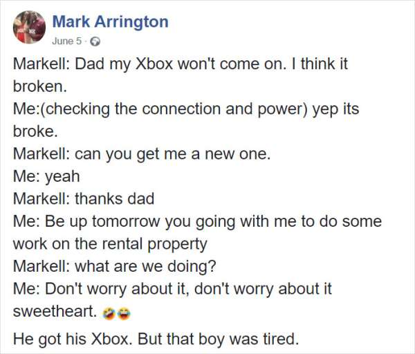 Dad teaches son a valuable lesson in work ethics after he asked for a new Xbox