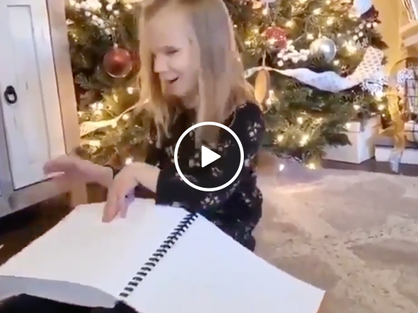 Blind little girl gets entire Harry Potter series in braille, and is someone chopping onions? (Video)
